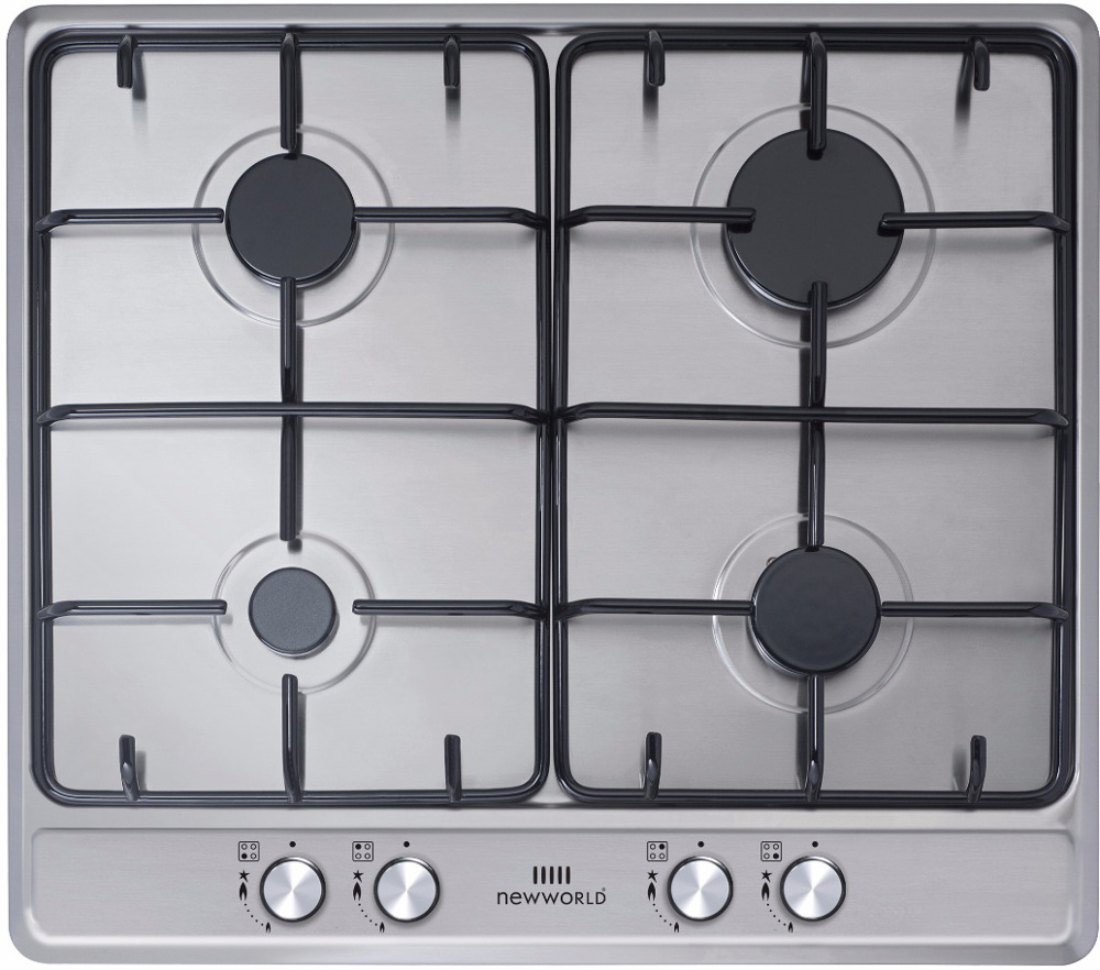 New World Suite GHU60GE Stainless Steel 4 Burner Gas Hob