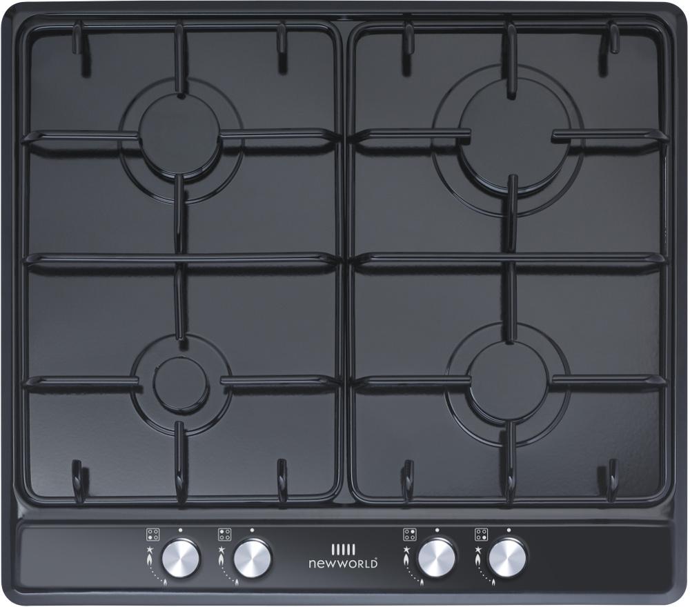 New World Suite GHU60GE Black 4 Burner Gas Hob