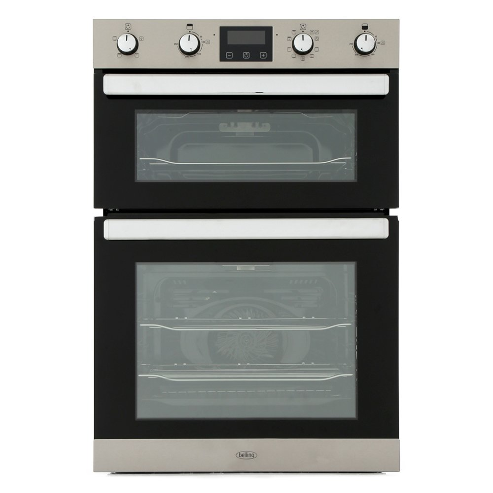 Belling BI902MFCT Stainless Steel Double Built In Electric Oven