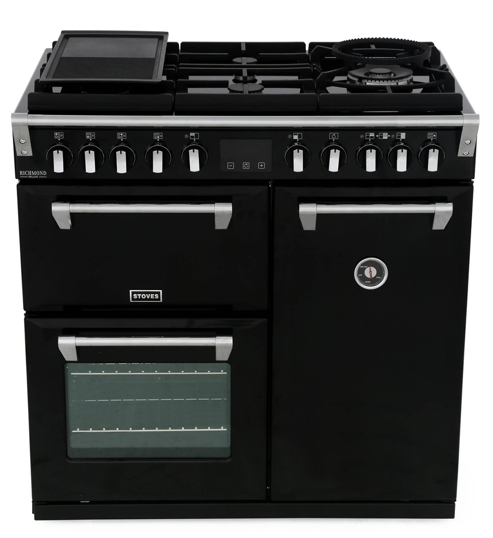 Stoves Richmond Deluxe S900DFGTG Black 90cm Dual Fuel Range Cooker