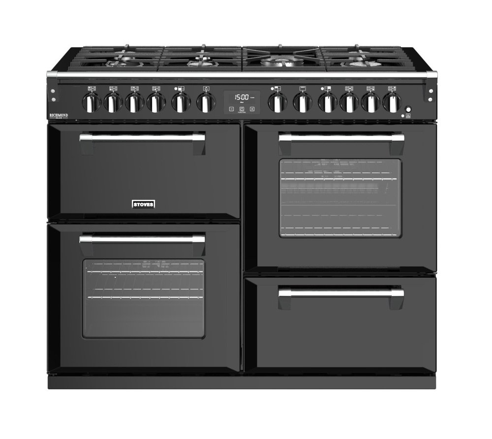 Stoves Richmond Deluxe S1100DF Black 110cm Dual Fuel Range Cooker