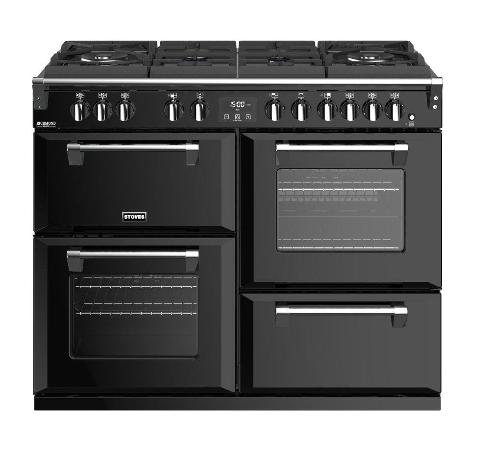 Stoves Richmond Deluxe S1100DFGTG Black 110cm Dual Fuel Range Cooker