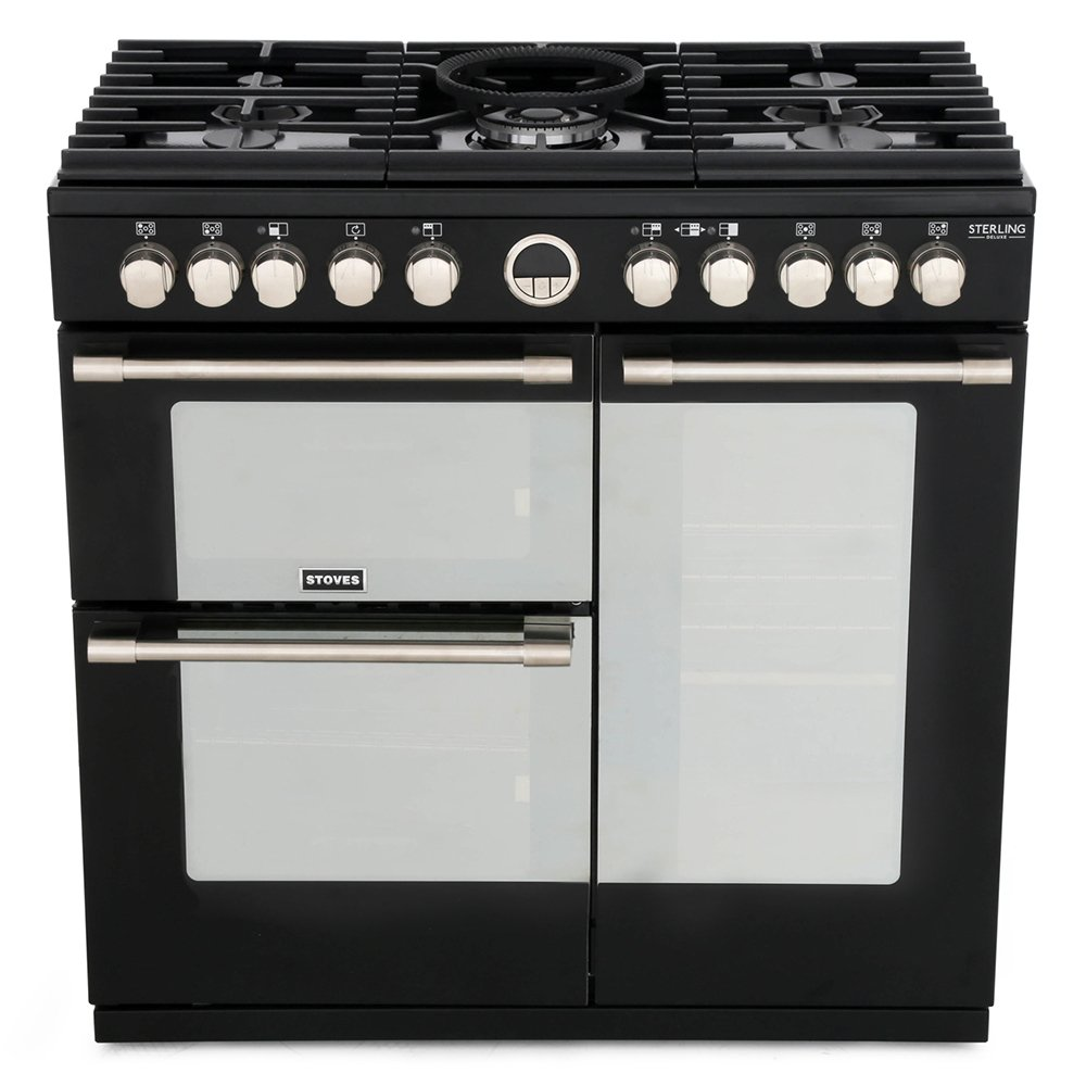 Stoves Sterling Deluxe S900DF Black 90cm Dual Fuel Range Cooker
