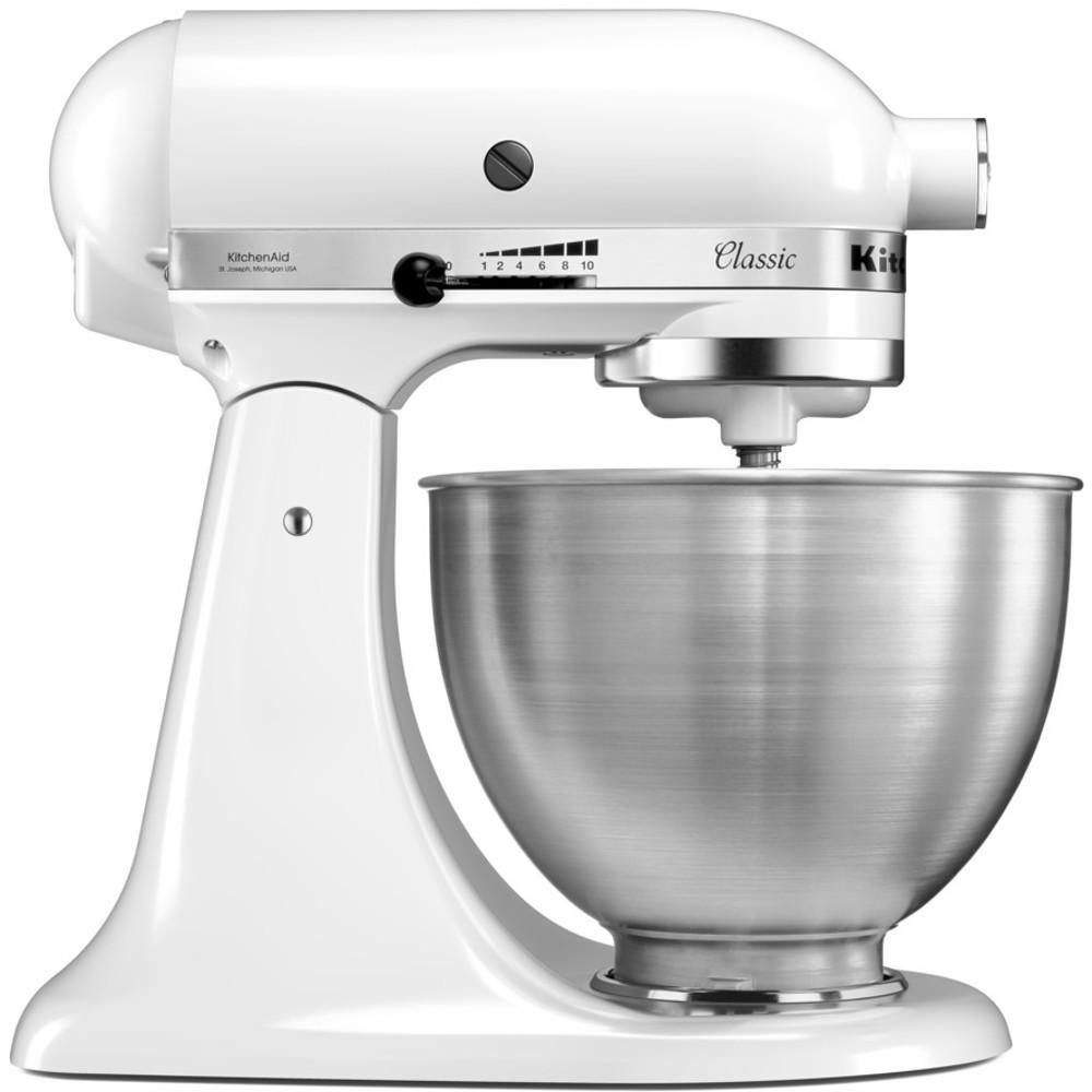 kitchenaid 4 1 2 quot red stainless steel buy kitchenaid 5k45ssbwh 4 3 litre classic stand mixer 5k45ssbwh white marks electrical 1950