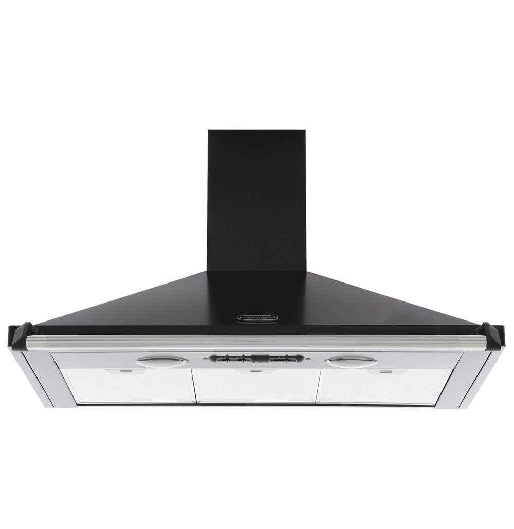 Rangemaster CLAHDC90BC Classic Black with Chrome Trim 90cm Chimney Hood