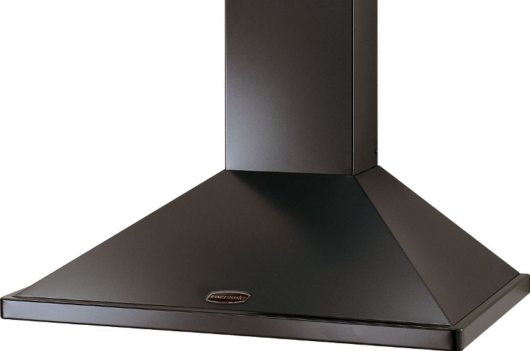 Rangemaster LEIHDC90BB Black with Brass Trim 90cm Chimney Hood