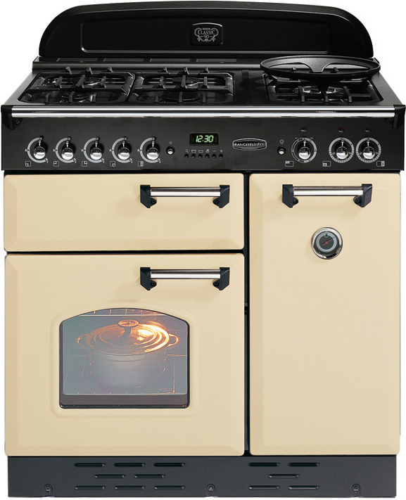 buy rangemaster clas90dffcr c classic cream with chrome trim 90cm dual fuel range cooker 72750. Black Bedroom Furniture Sets. Home Design Ideas
