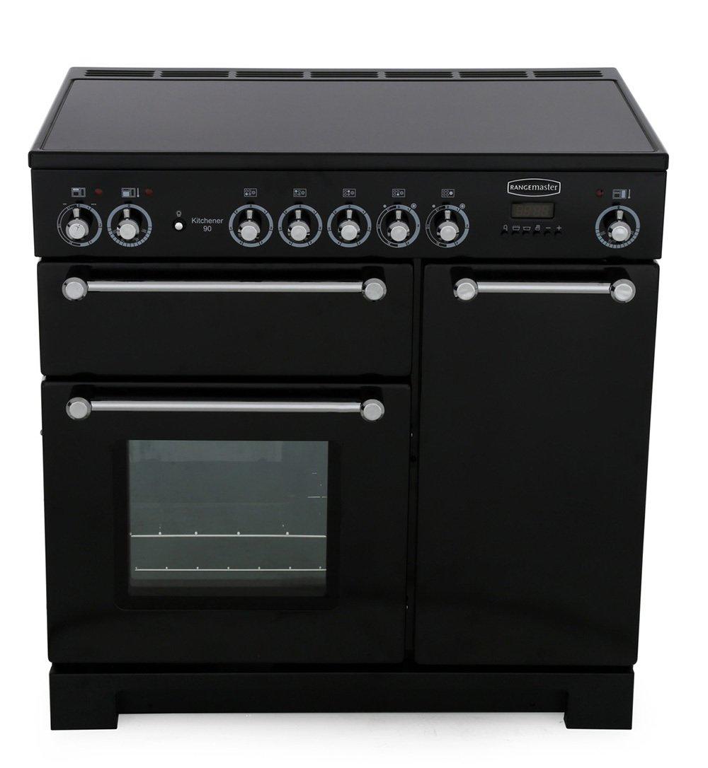 Rangemaster KCH90ECBL/C Kitchener Black with Chrome Trim 90cm Electric Ceramic Range Cooker