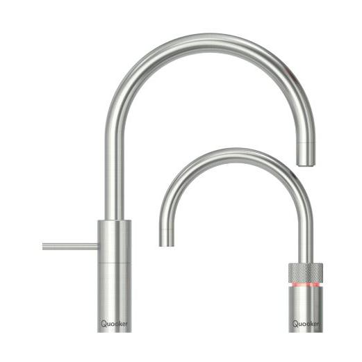 Quooker PRO7 Nordic Round Stainless Steel Boiling Water Twin Tap