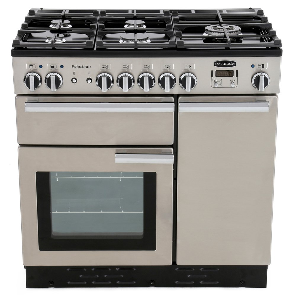 Rangemaster PROP90DFFSS/C Professional Plus Stainless Steel with Chrome Trim 90cm Dual Fuel Range Cooker