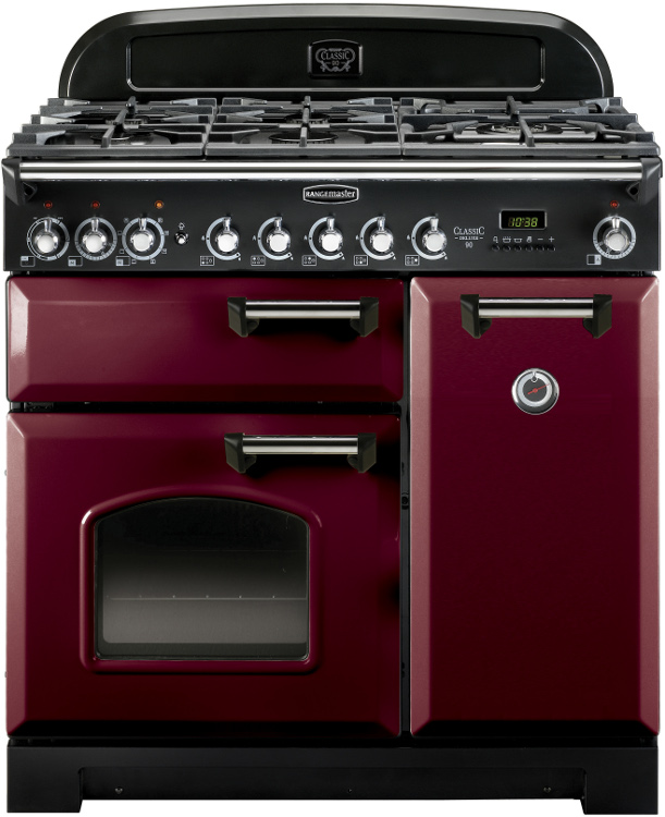 Rangemaster CDL90DFFCY/C Classic Deluxe Cranberry with Chrome Trim 90cm Dual Fuel Range Cooker