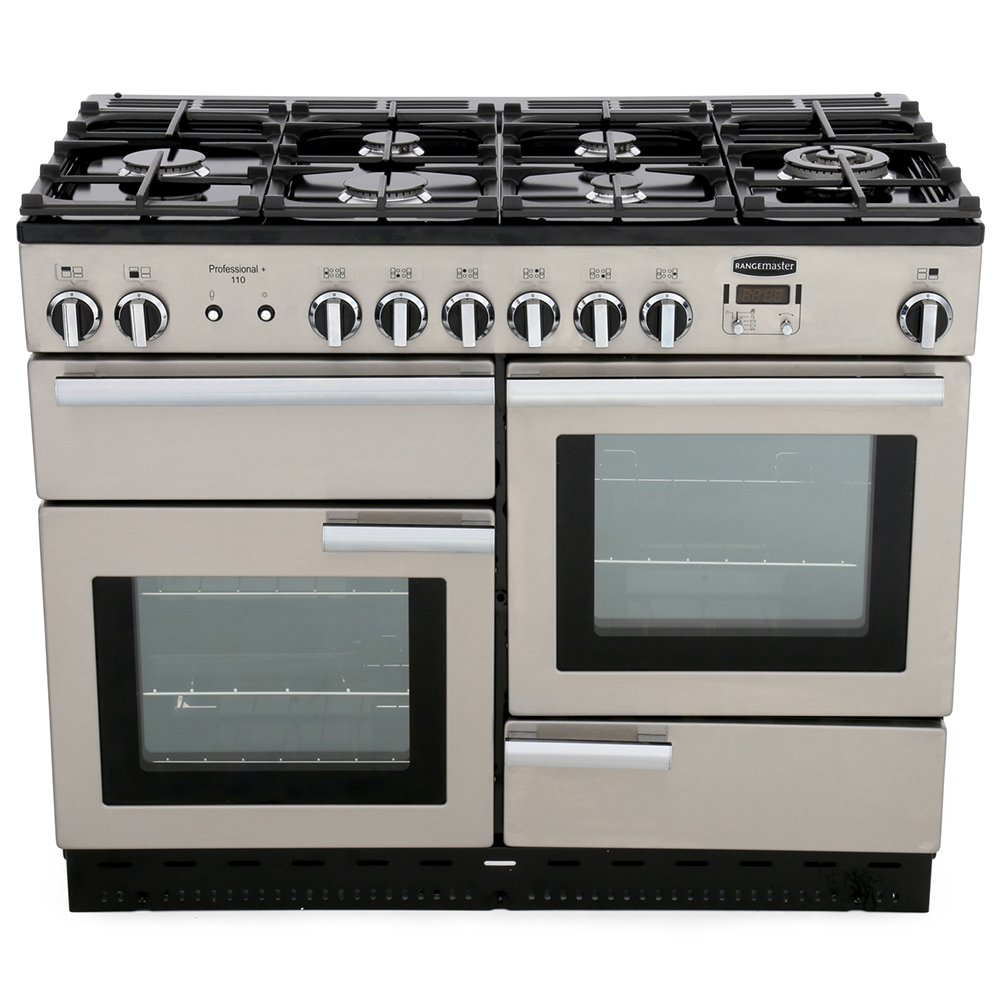 Rangemaster PROP110NGFSS/C Professional Plus Stainless Steel with Chrome Trim 110cm Gas Range Cooker