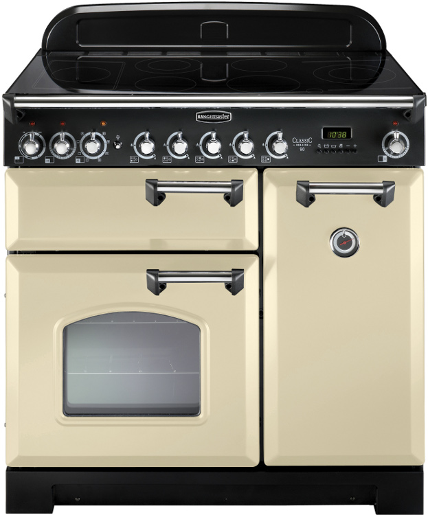 Rangemaster CDL90EICR/C Classic Deluxe Cream with Chrome Trim 90cm Electric Induction Range Cooker