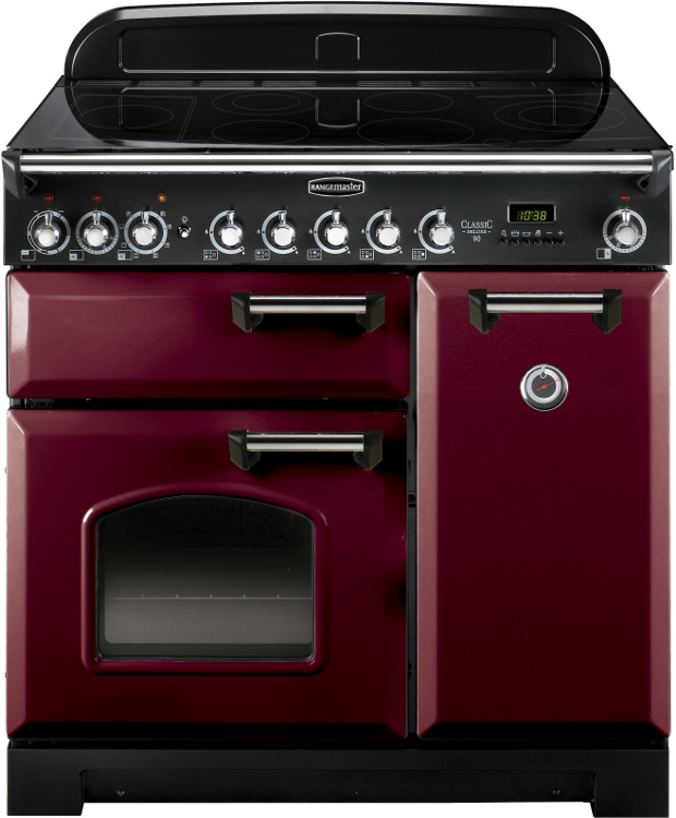 Rangemaster CDL90EICY/C Classic Deluxe Cranberry with Chrome Trim 90cm Electric Induction Range Cooker