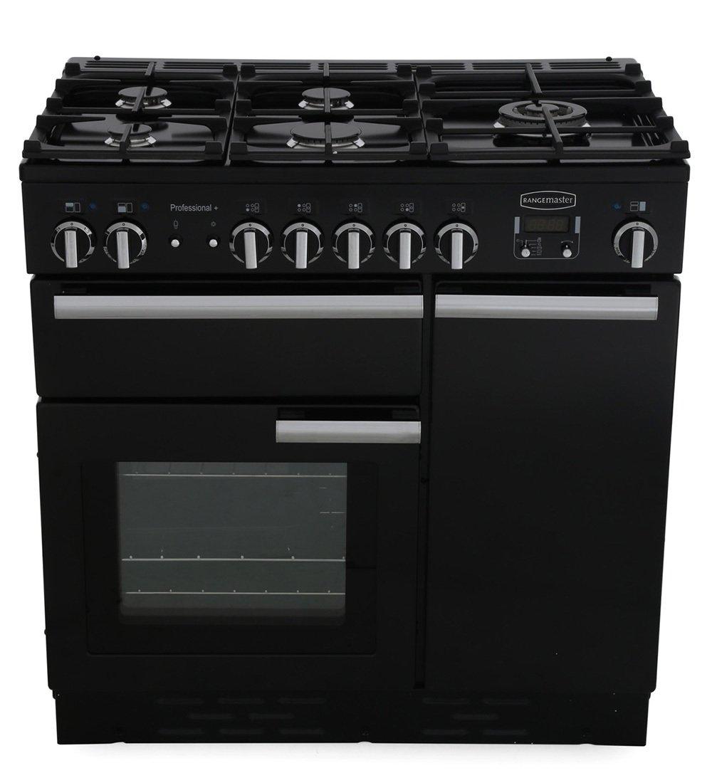 Rangemaster PROP90DFFGB/C Professional Plus Black with Chrome Trim 90cm Dual Fuel Range Cooker