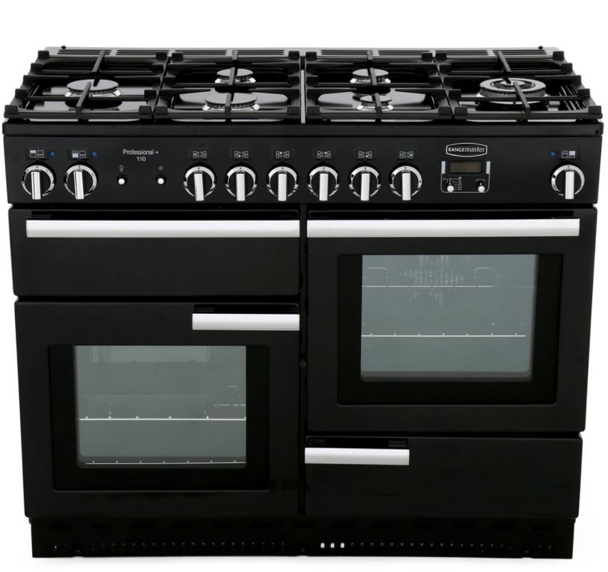 Rangemaster PROP110DFFGB/C Professional Plus Black with Chrome Trim 110cm Dual Fuel Range Cooker