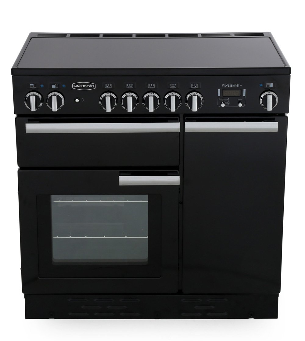 Rangemaster PROP90EIGB/C Professional Plus Gloss Black with Chrome Trim 90cm Electric Induction Range Cooker