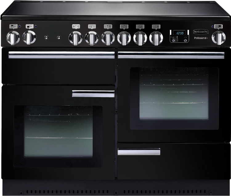 Rangemaster PROP110EIGB/C Professional Plus Gloss Black with Chrome Trim 110cm Electric Induction Range Cooker