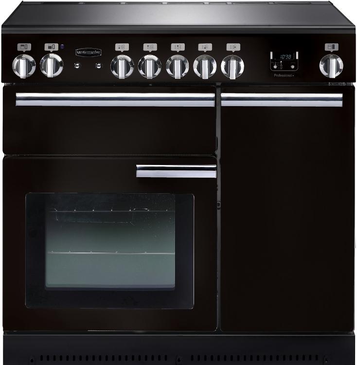 Rangemaster PROP90ECGB/C Professional Plus Gloss Black with Chrome Trim 90cm Electric Ceramic Range Cooker