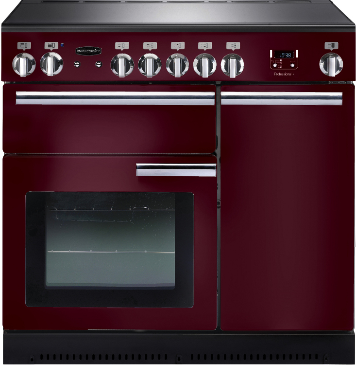 Rangemaster PROP90ECCY/C Professional Plus Cranberry with Chrome Trim 90cm Electric Ceramic Range Cooker