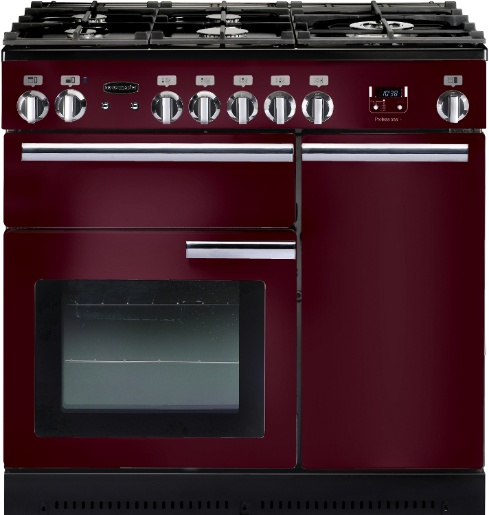 Rangemaster PROP90NGFCY/C Professional Plus Cranberry with Chrome Trim 90cm Gas Range Cooker