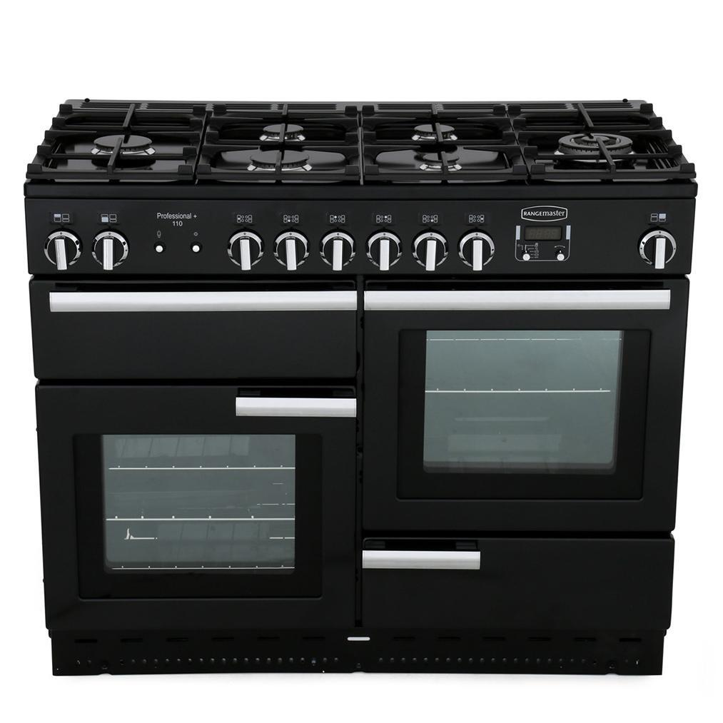 Rangemaster PROP110NGFGB/C Professional Plus Gloss Black with Chrome Trim 110cm Gas Range Cooker