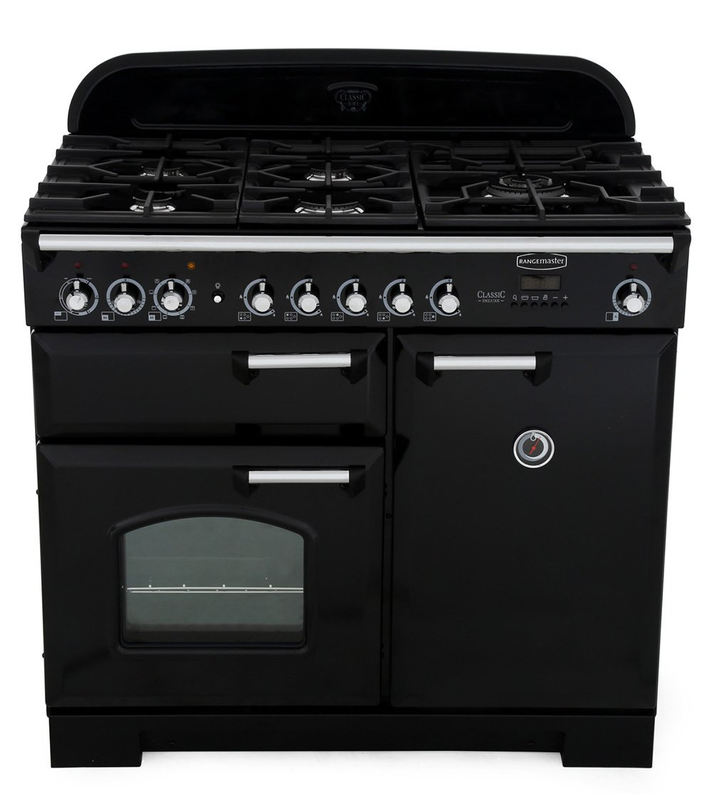 Rangemaster CDL100DFFBL/C Classic Deluxe Gloss Black with Chrome Trim 100cm Dual Fuel Range Cooker