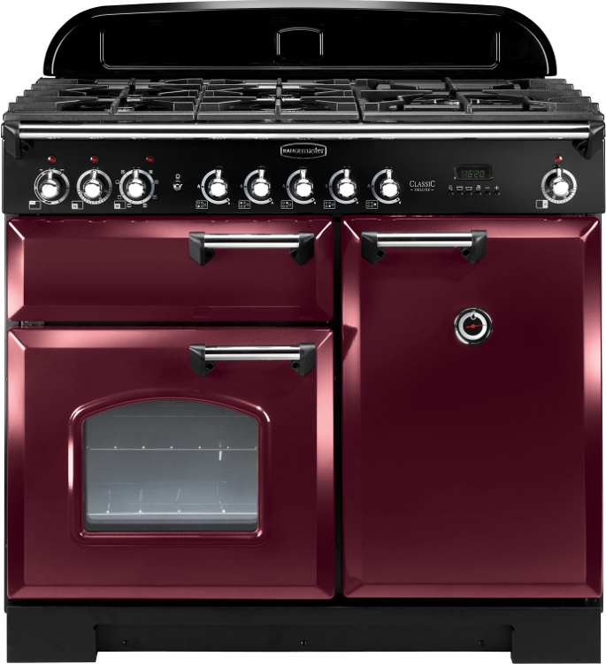 Rangemaster CDL100DFFCY/C Classic Deluxe Cranberry with Chrome Trim 100cm Dual Fuel Range Cooker