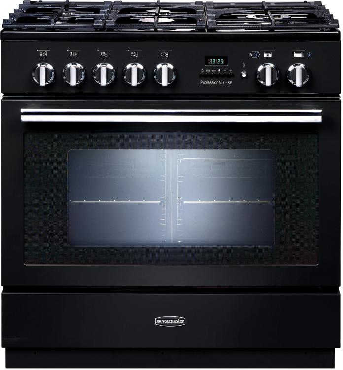 Rangemaster PROP90FXPDFFGB/C Professional Plus FXP Black with Chrome Trim 90cm Dual Fuel Range Cooker