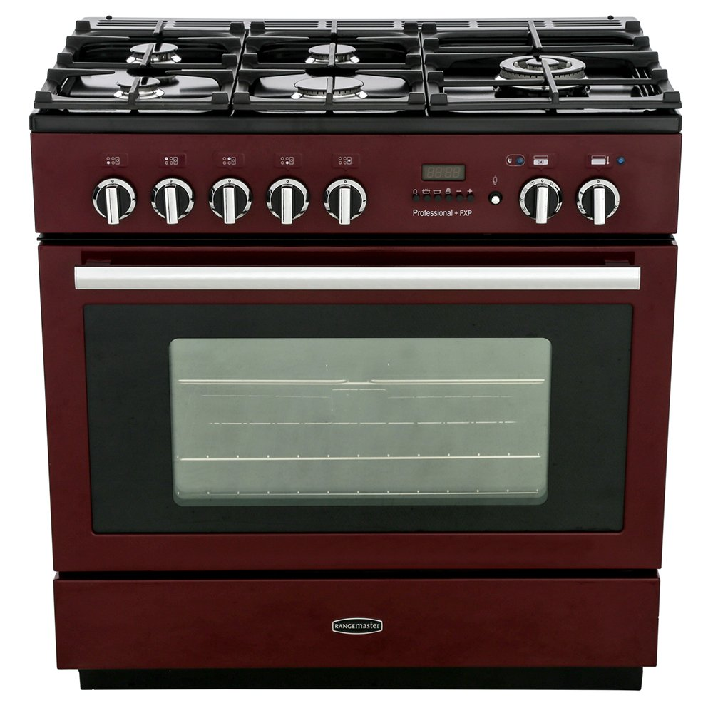 Rangemaster PROP90FXPDFFCY/C Professional Plus FXP Cranberry with Chrome Trim 90cm Dual Fuel Range Cooker