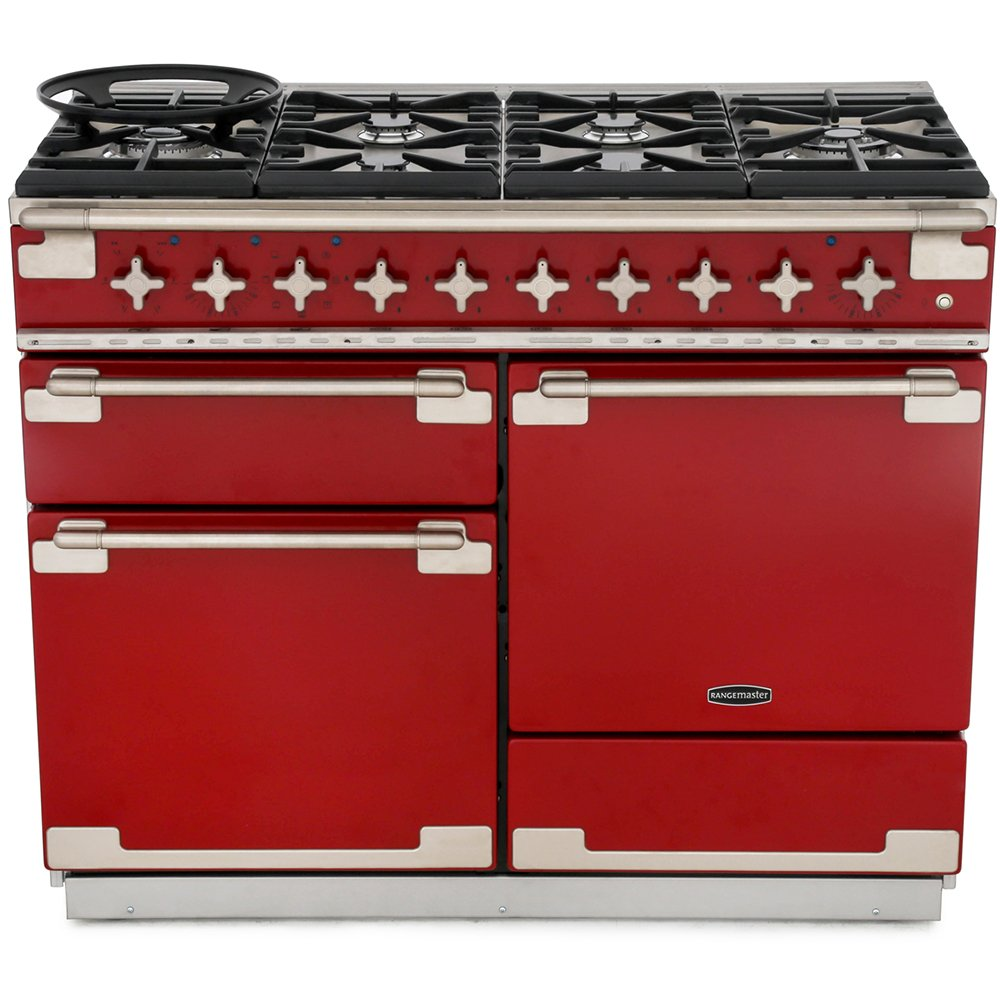 Rangemaster ELS110DFFRD Elise Cherry Red with Brushed Chrome Trim 110cm Dual Fuel Range Cooker