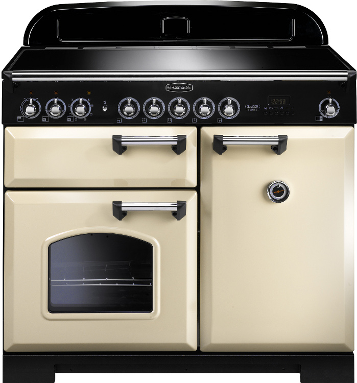 Rangemaster CDL100EICR/C Classic Deluxe Cream with Chrome Trim 100cm Electric Induction Range Cooker