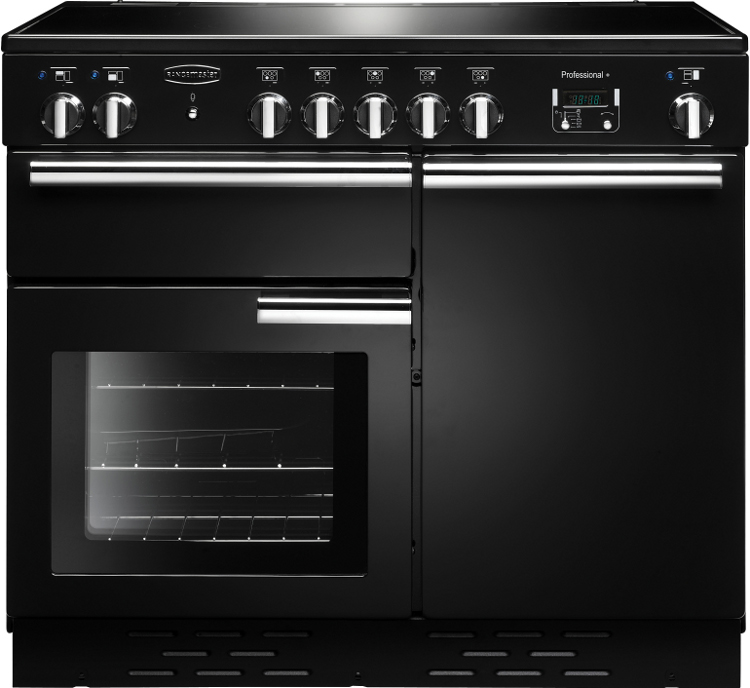 Rangemaster PROP100EIGB/C Professional Plus Gloss Black with Chrome Trim 100cm Electric Induction Range Cooker