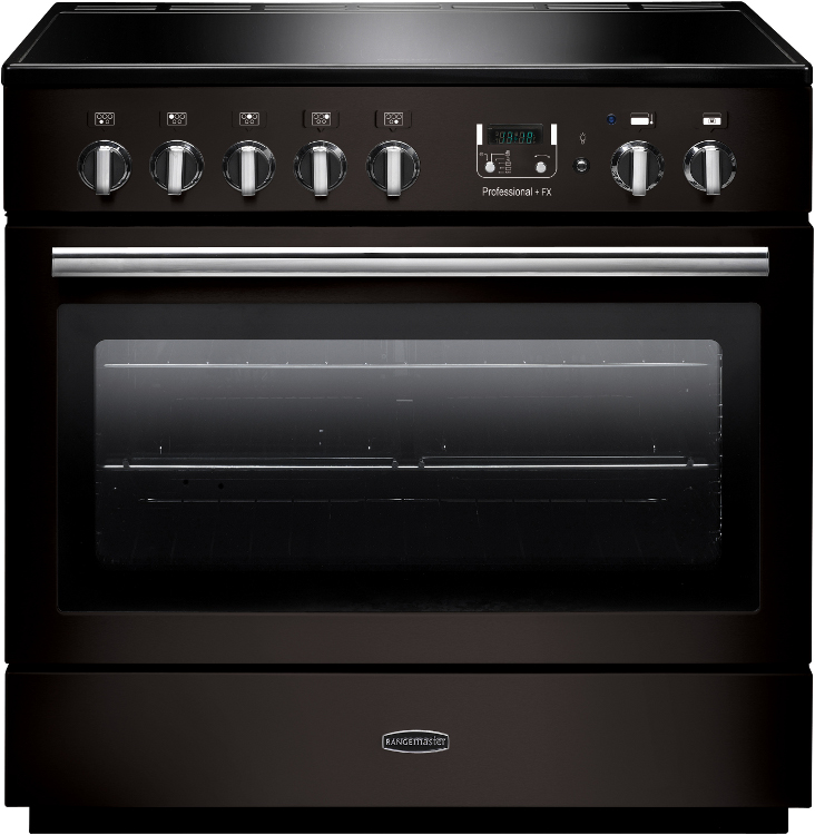 Rangemaster PROP90FXEIGB/C Professional Plus FX Gloss Black with Chrome Trim 90cm Electric Induction Range Cooker