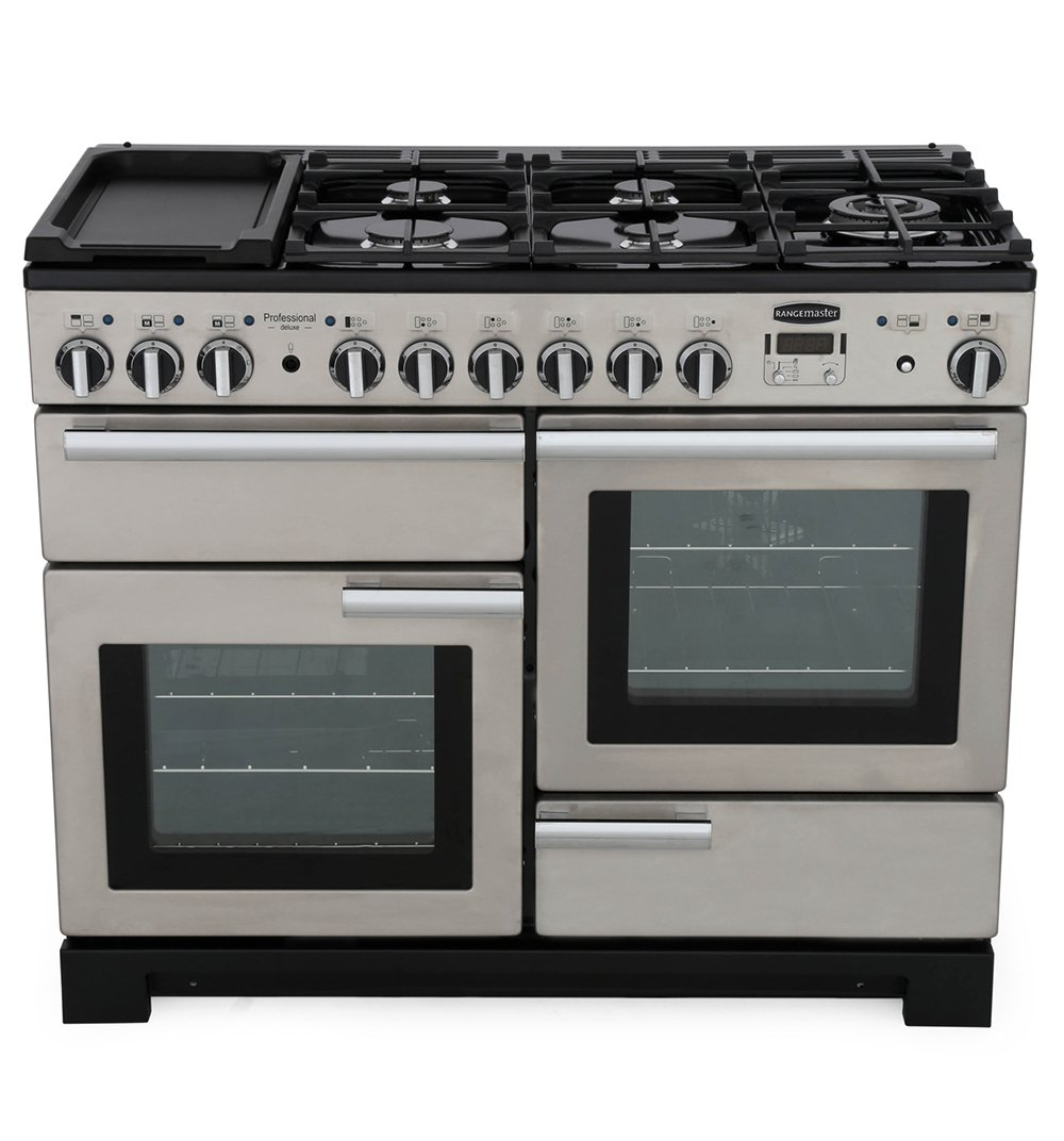 Rangemaster PDL110DFFSS/C Professional Deluxe Stainless Steel with Chrome Trim 110cm Dual Fuel Range Cooker