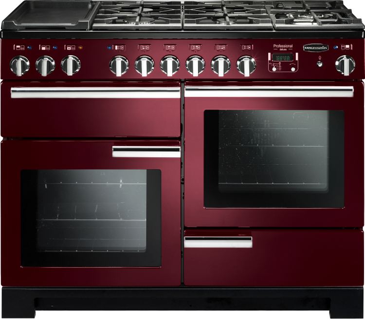 Rangemaster PDL110DFFCY/C Professional Deluxe Cranberry with Chrome Trim 110cm Dual Fuel Range Cooker