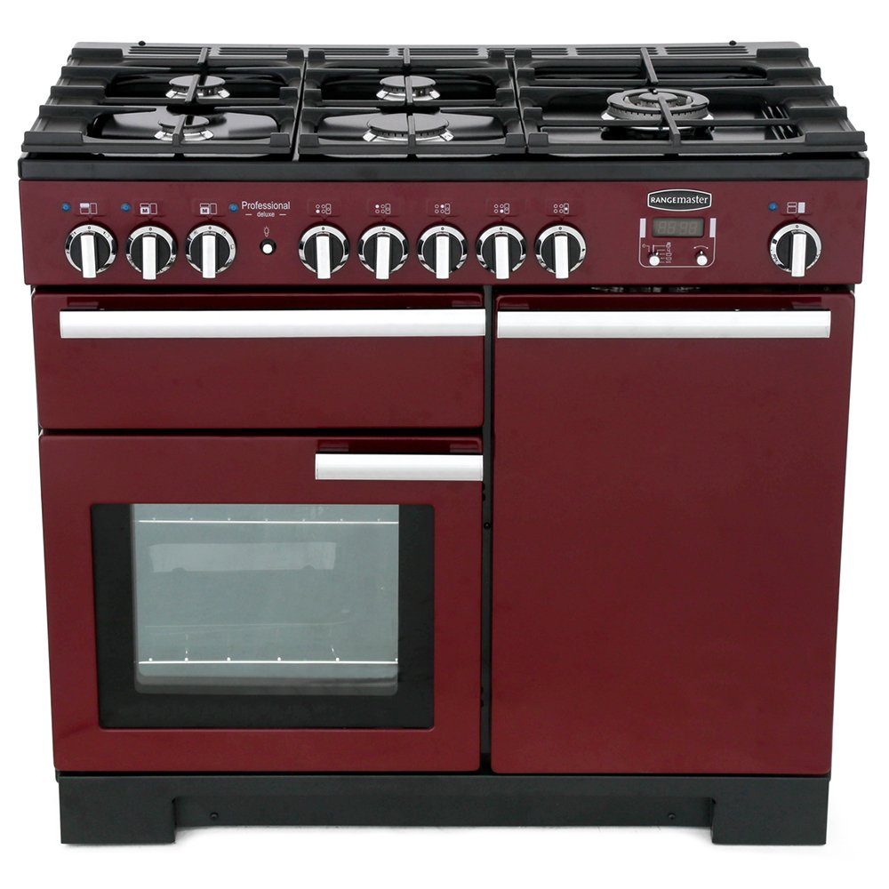 Rangemaster PDL100DFFCY/C Professional Deluxe Cranberry with Chrome Trim 100cm Dual Fuel Range Cooker