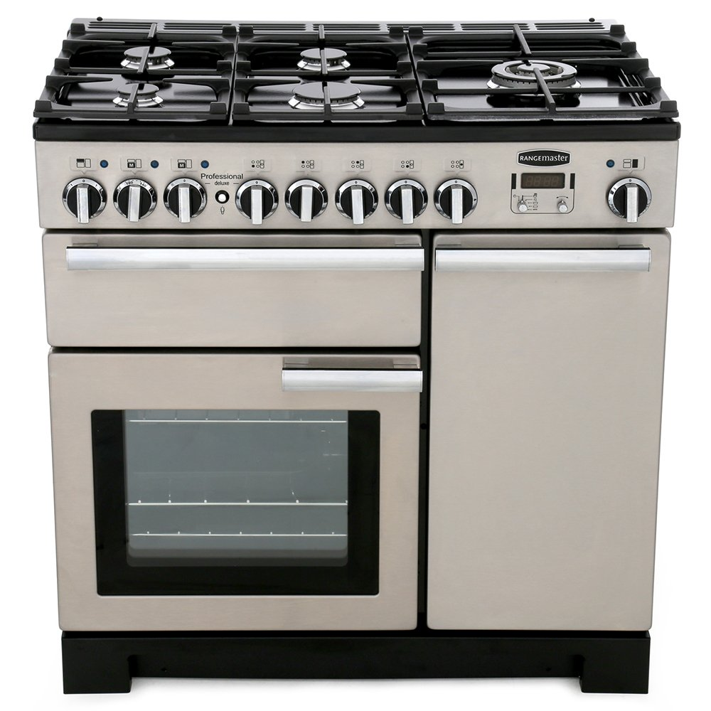 Rangemaster PDL90DFFSS/C Professional Deluxe Stainless Steel with Chrome Trim 90cm Dual Fuel Range Cooker