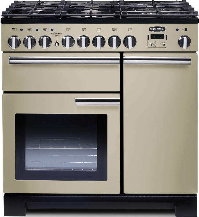 Rangemaster PDL90DFFCR/C Professional Deluxe Cream with Chrome Trim 90cm Dual Fuel Range Cooker