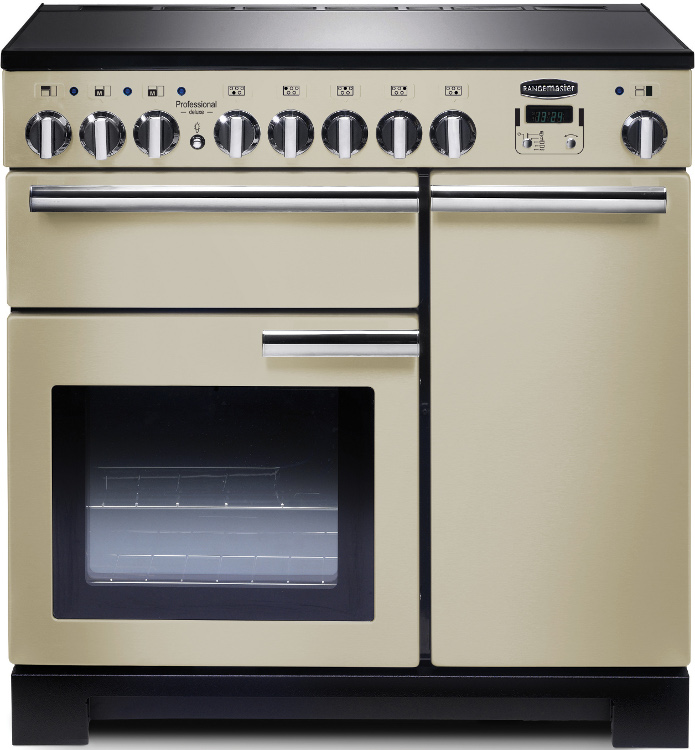 Rangemaster PDL90EICR/C Professional Deluxe Cream with Chrome Trim 90cm Electric Induction Range Cooker