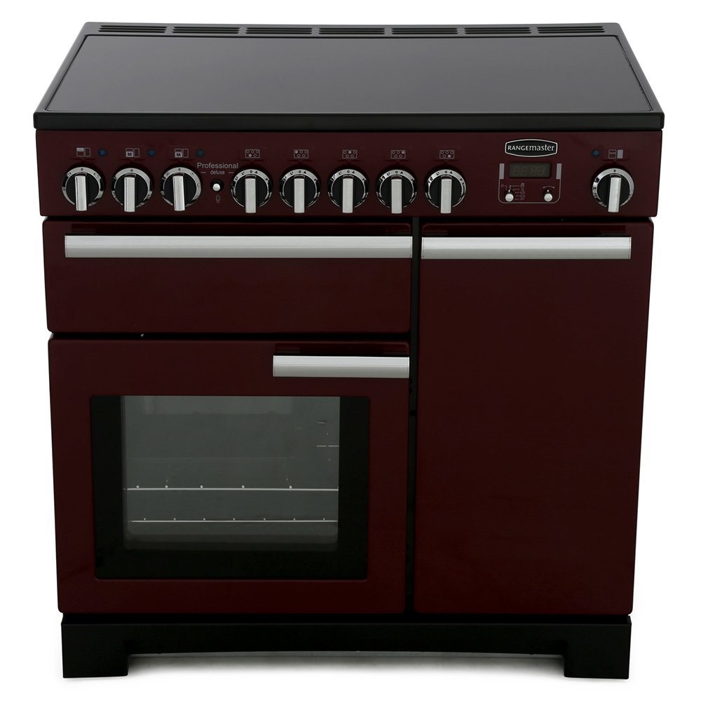 Rangemaster PDL90EICY/C Professional Deluxe Cranberry with Chrome Trim 90cm Electric Induction Range Cooker