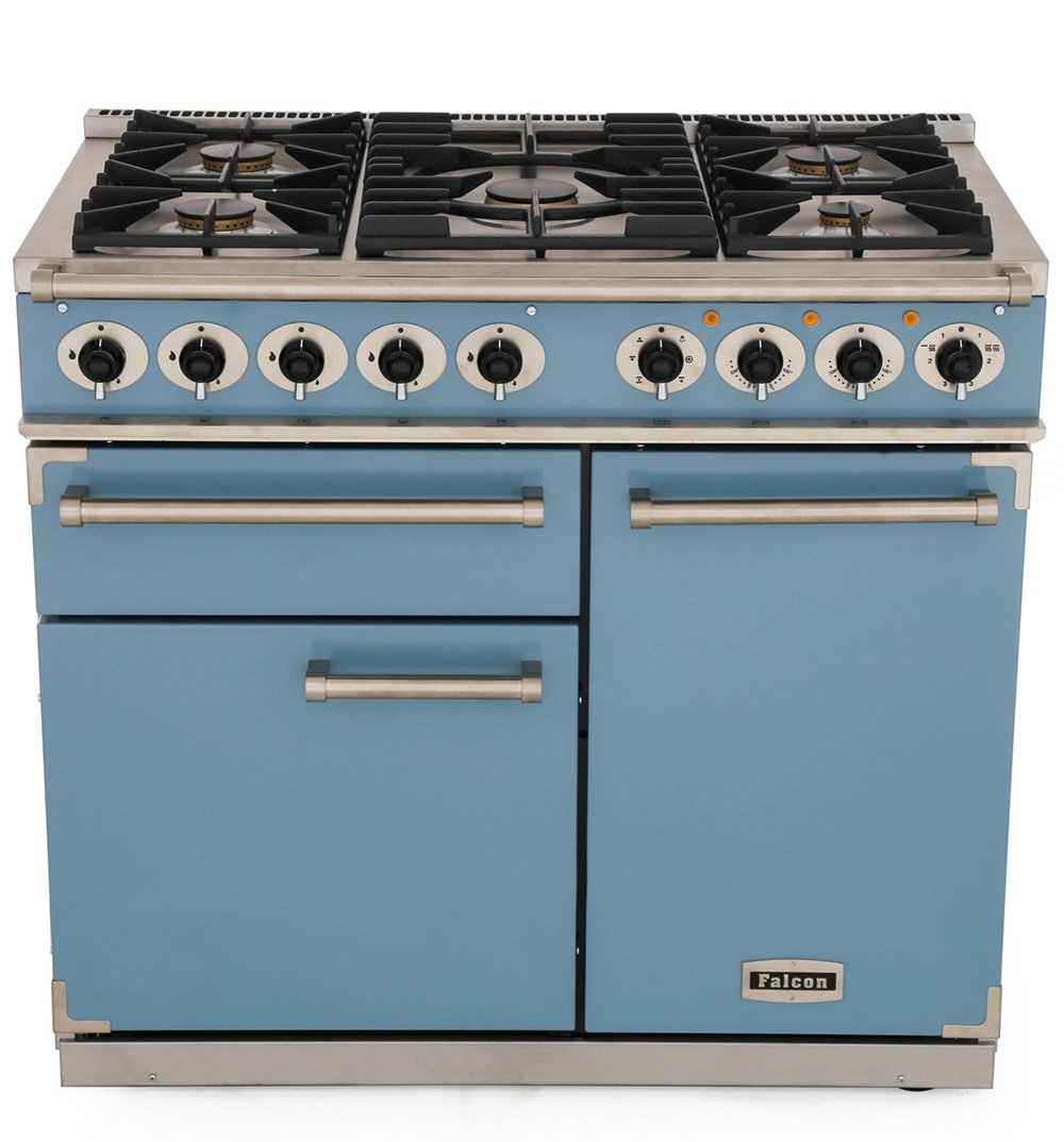Falcon 1000 Deluxe China Blue Brushed Chrome 100cm Dual Fuel Range Cooker