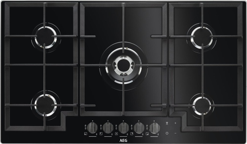 AEG HKB95540NB Gas on Glass 5 Burner Gas Hob