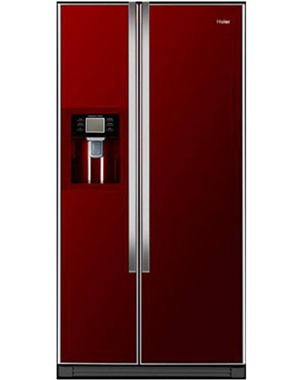 Buy Haier Hrf 663cjr American Fridge Freezer Red Glass