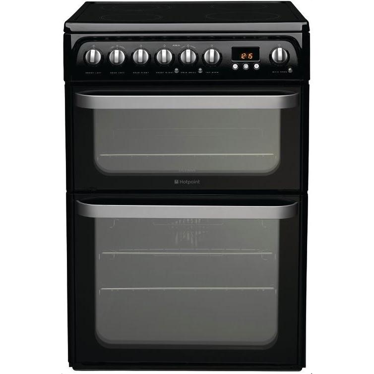 Hotpoint Ultima HUE61K Ceramic Electric Cooker with Double Oven