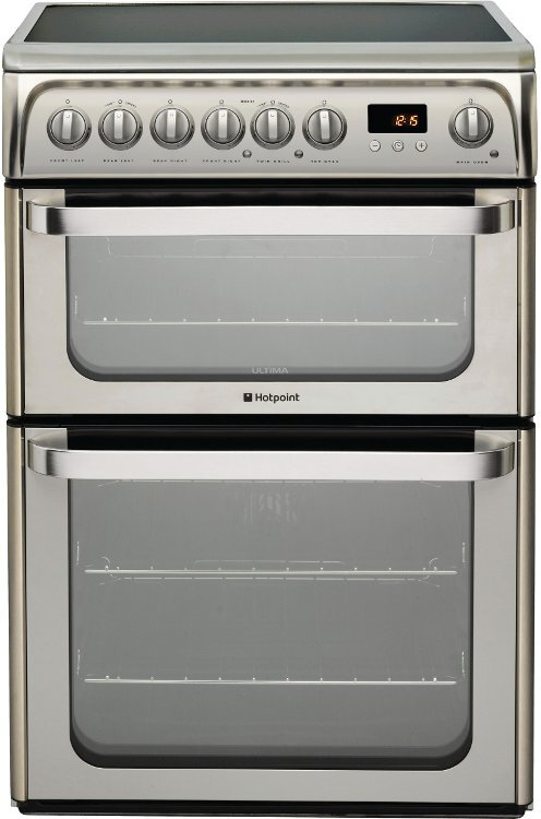 Hotpoint Ultima HUE61X Ceramic Electric Cooker with Double Oven