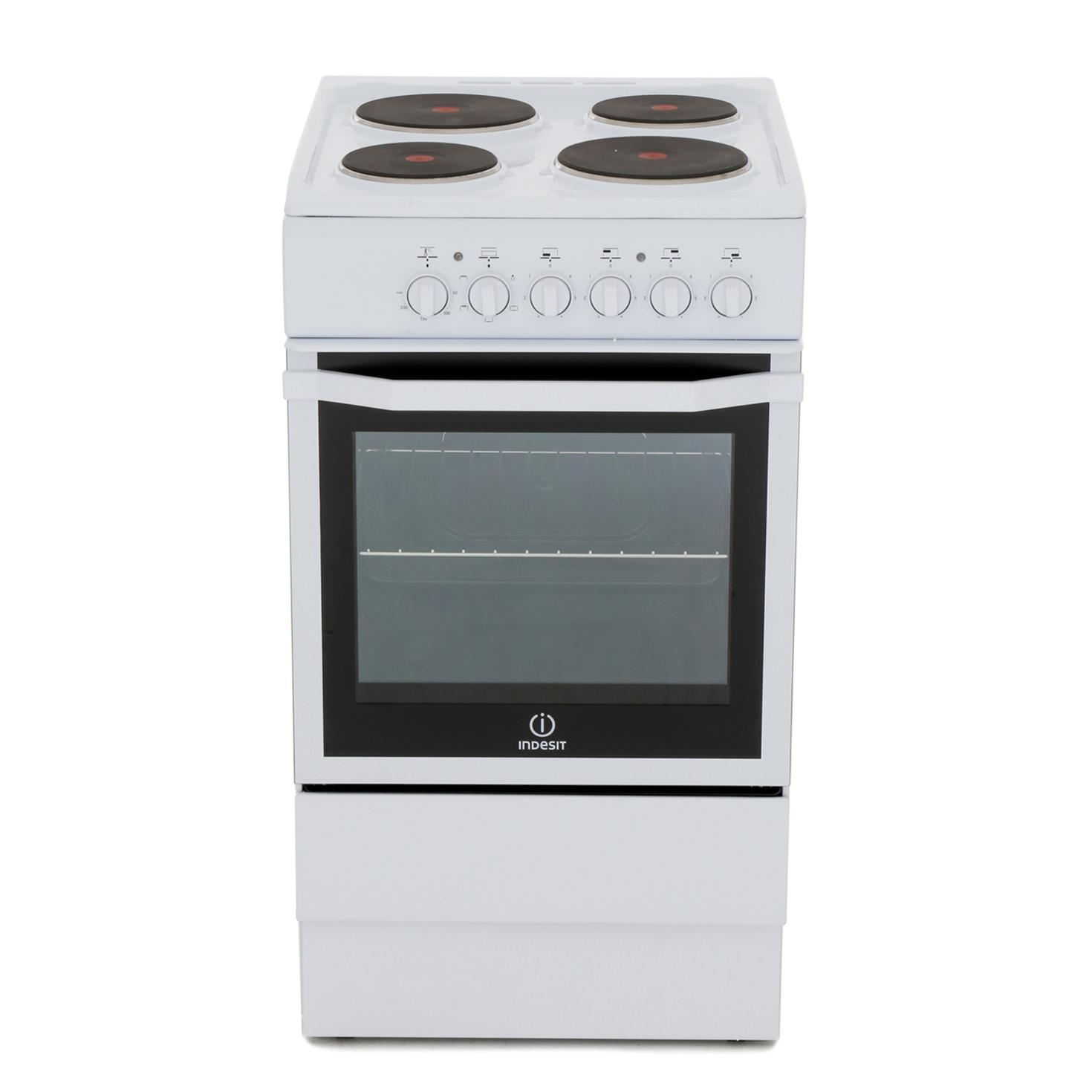 Indesit I5ESHW Solid Plate Electric Cooker with Single Oven