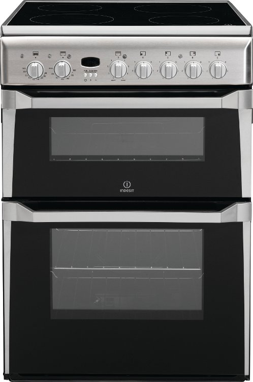 Indesit ID60C2XS Ceramic Electric Cooker with Double Oven