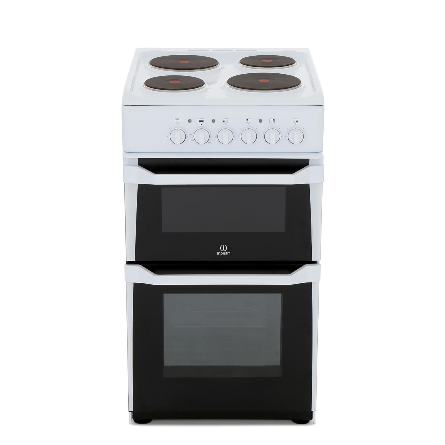 Indesit IT50EWS Solid Plate Electric Cooker Separate Grill