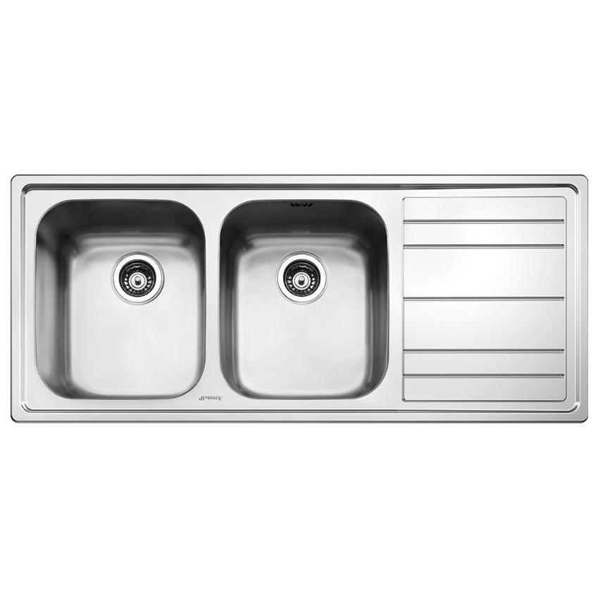 Smeg Rigae LEH116D Right Hand Drainer Double Stainless Steel Inset Sink